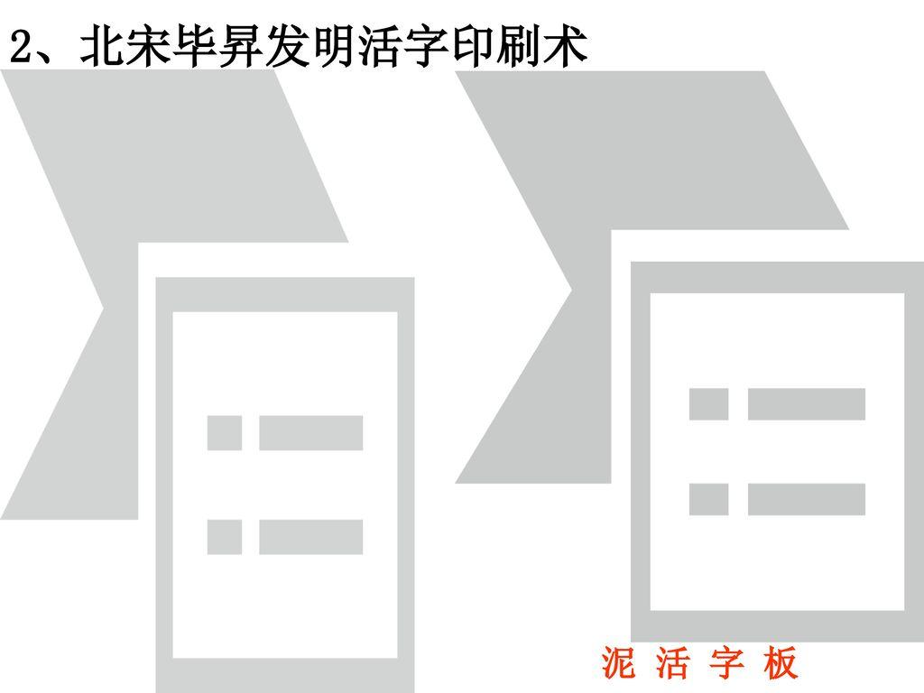 2、北宋毕昇发明活字印刷术 泥 活 字 板