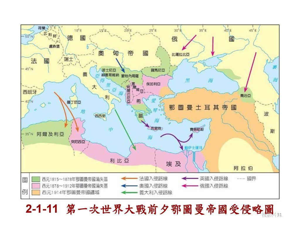 2-1-11 第一次世界大戰前夕鄂圖曼帝國受侵略圖