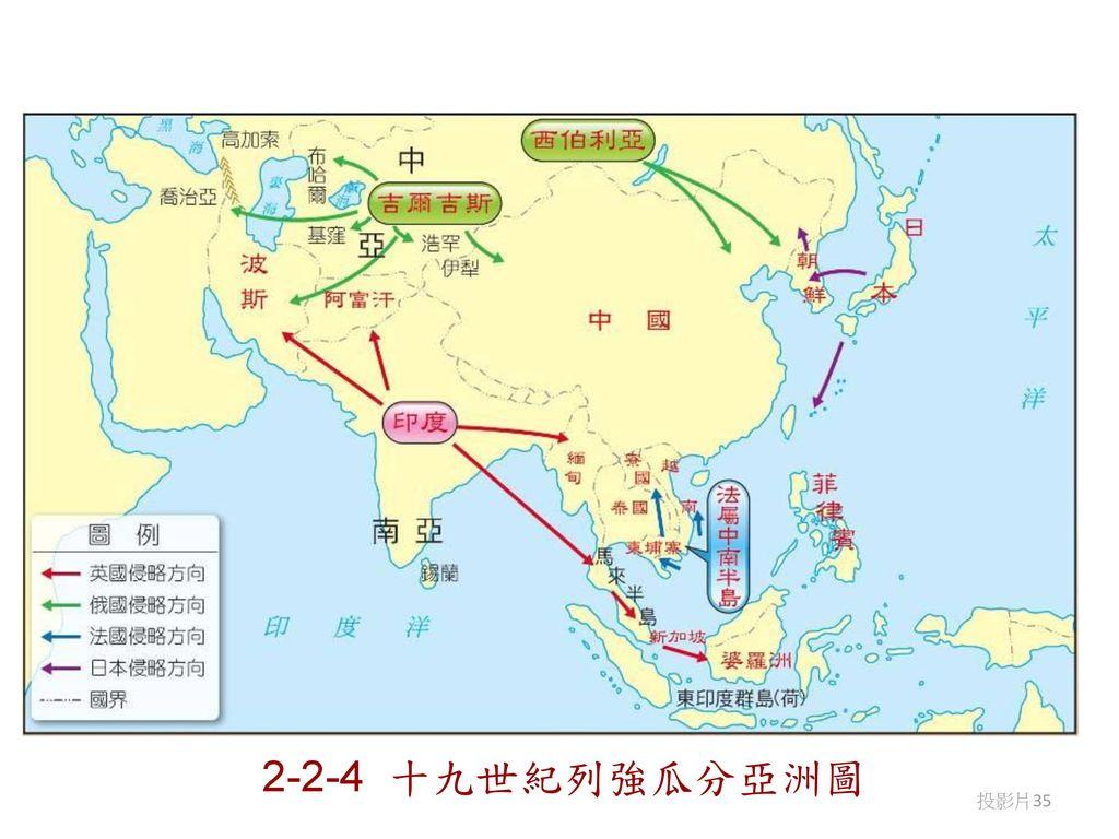 2-2-4 十九世紀列強瓜分亞洲圖