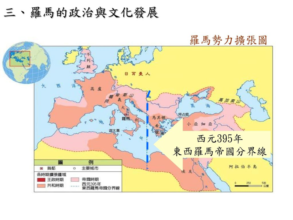 三、羅馬的政治與文化發展 羅馬勢力擴張圖 西元395年 東西羅馬帝國分界線