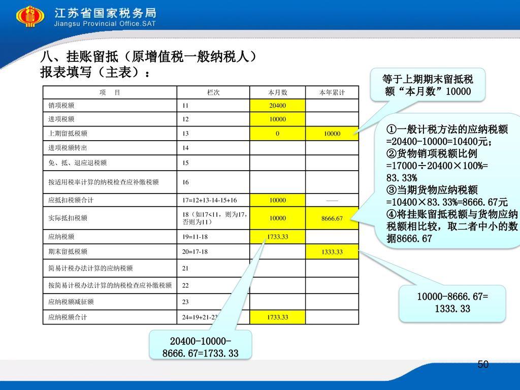 八、挂账留抵(原增值税一般纳税人) 报表填写(主表):
