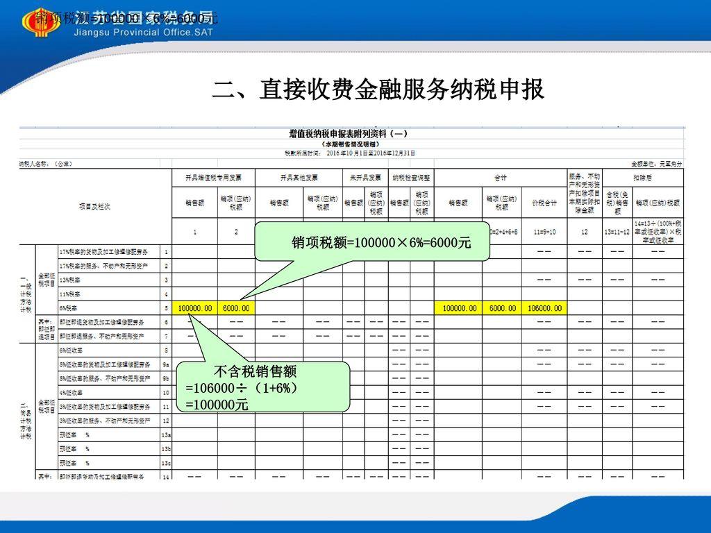 二、直接收费金融服务纳税申报 销项税额=100000×6%=6000元 销项税额=100000×6%=6000元