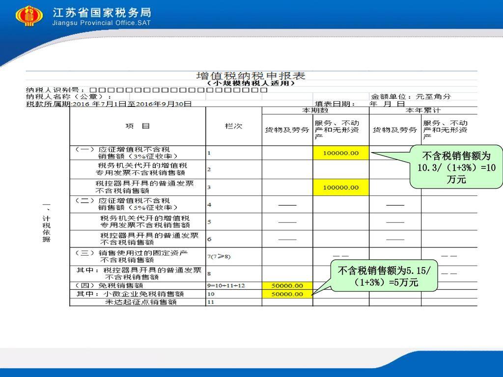 不含税销售额为10.3/(1+3%)=10万元 不含税销售额为5.15/(1+3%)=5万元