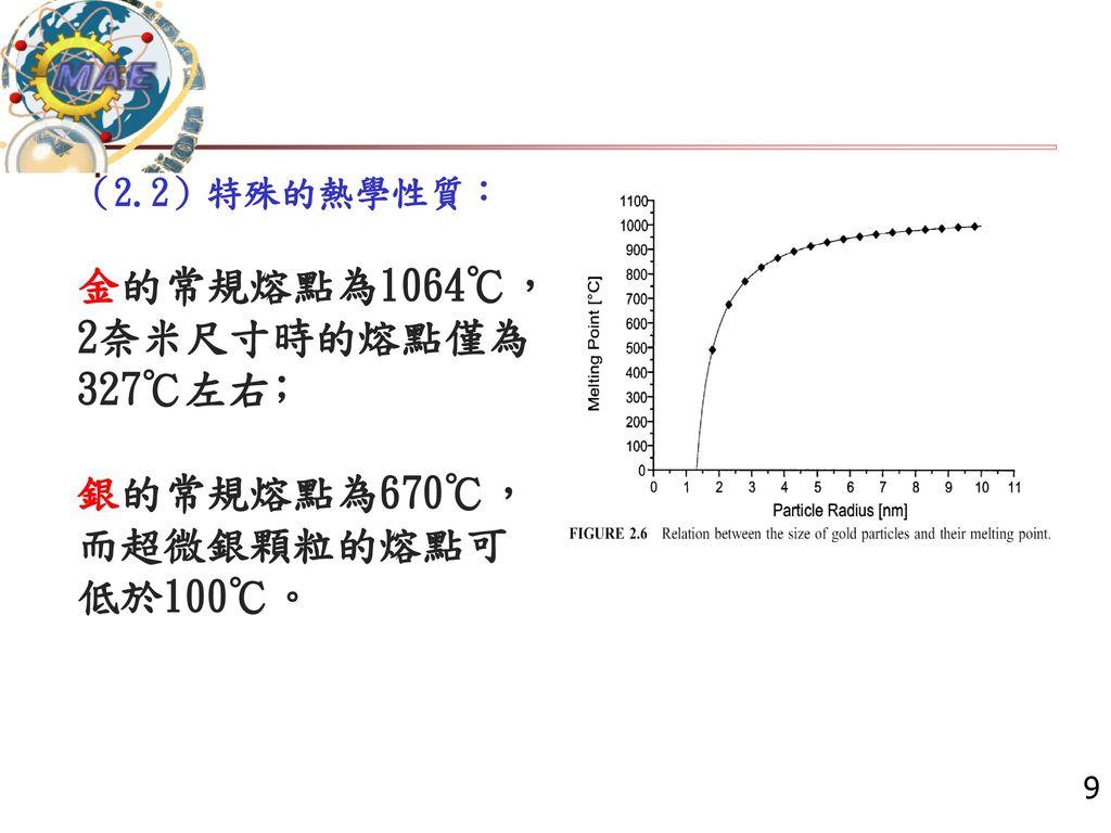 金的常規熔點為1064℃,2奈米尺寸時的熔點僅為327℃左右﹔