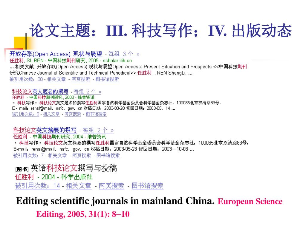 论文主题:III. 科技写作;IV. 出版动态 Editing scientific journals in mainland China.