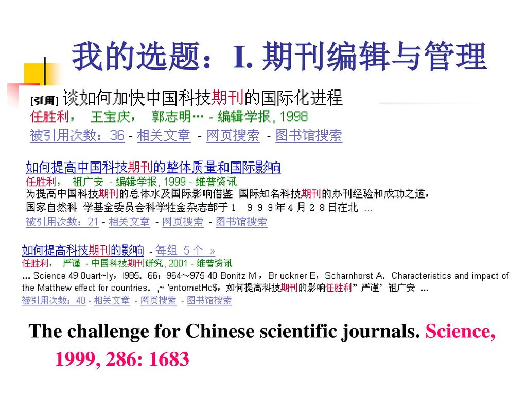 我的选题:I. 期刊编辑与管理 The challenge for Chinese scientific journals. Science, 1999, 286: 1683
