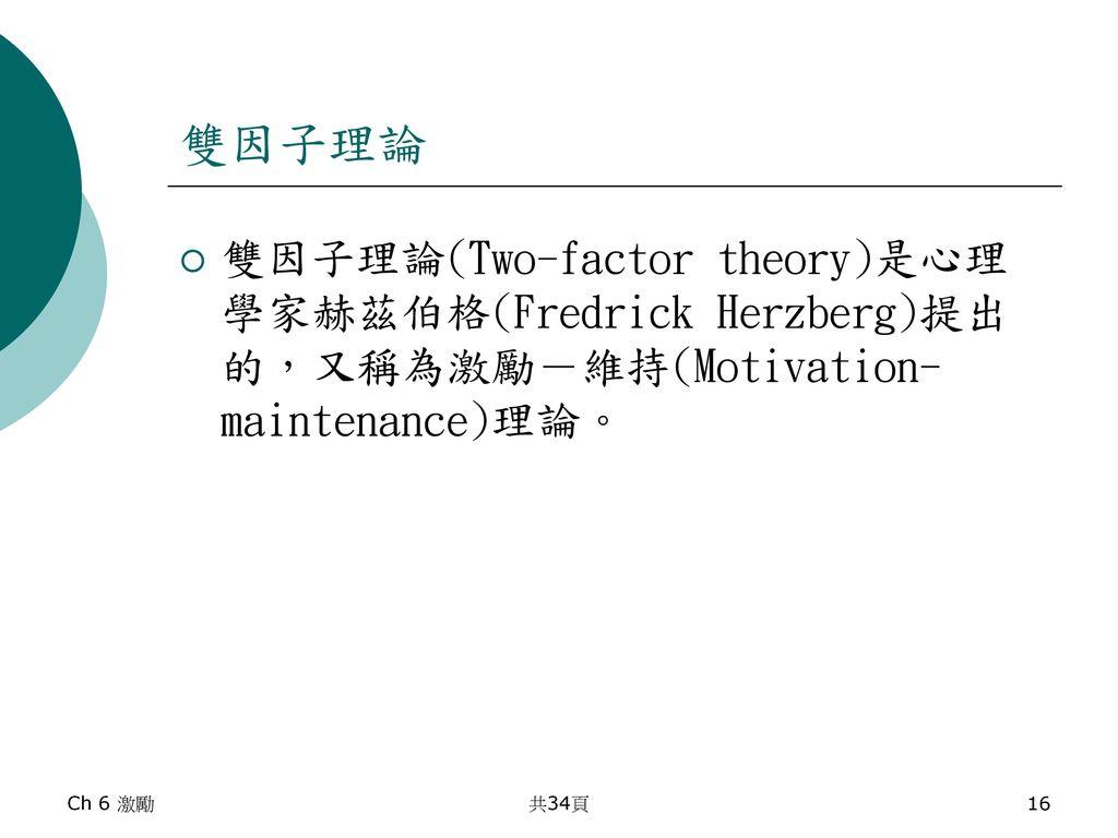 雙因子理論 雙因子理論(Two-factor theory)是心理學家赫茲伯格(Fredrick Herzberg)提出的,又稱為激勵-維持(Motivation-maintenance)理論。 Ch 6 激勵.