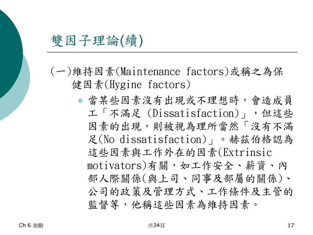 雙因子理論(續) (一)維持因素(Maintenance factors)或稱之為保健因素(Hygine factors)