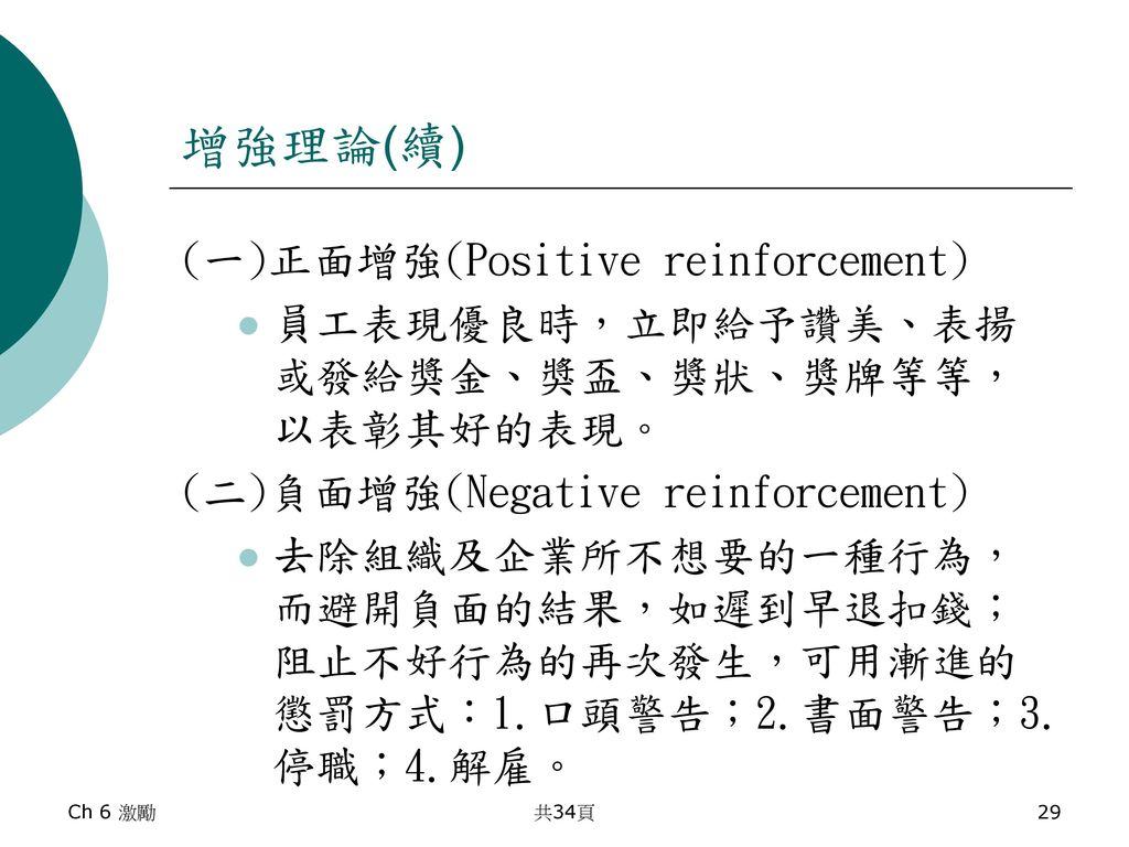 增強理論(續) (一)正面增強(Positive reinforcement)