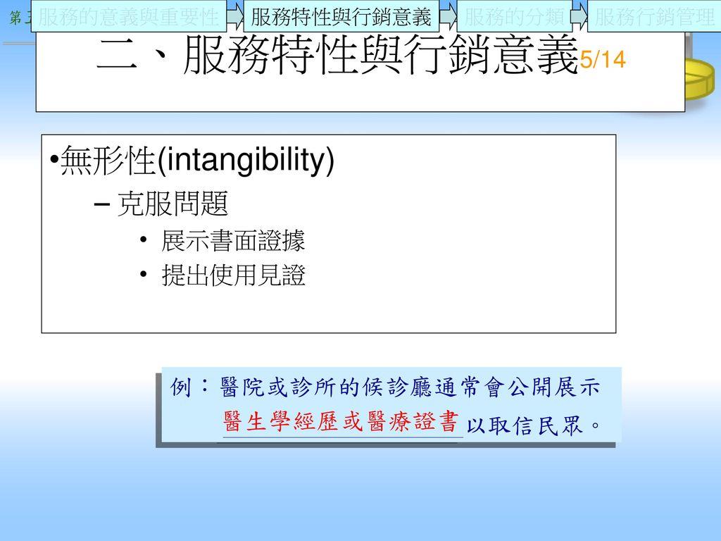 二、服務特性與行銷意義5/14 無形性(intangibility) 克服問題 展示書面證據 提出使用見證