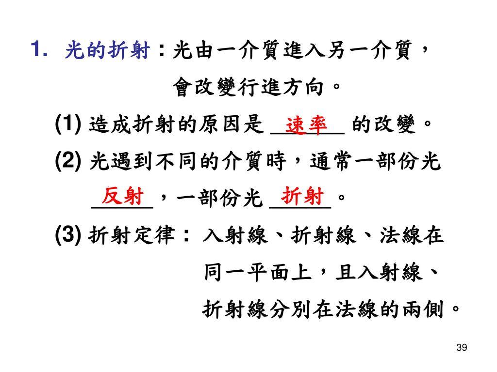 光的折射 : 光由一介質進入另一介質, 會改變行進方向。 (1) 造成折射的原因是 ______ 的改變。 (2) 光遇到不同的介質時,通常一部份光. _____,一部份光 _____。 (3) 折射定律 : 入射線、折射線、法線在.