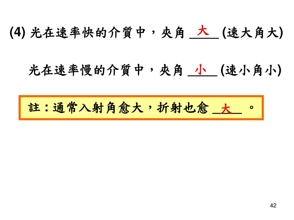 大 (4) 光在速率快的介質中,夾角 ____ (速大角大) 光在速率慢的介質中,夾角 ____ (速小角小) 註 : 通常入射角愈大,折射也愈 ____ 。 小 大