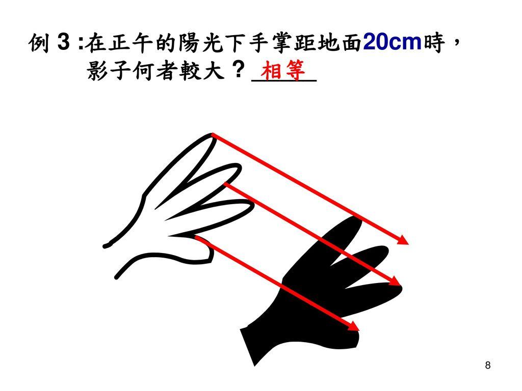 例 3 :在正午的陽光下手掌距地面20cm時, 影子何者較大 _____ 相等