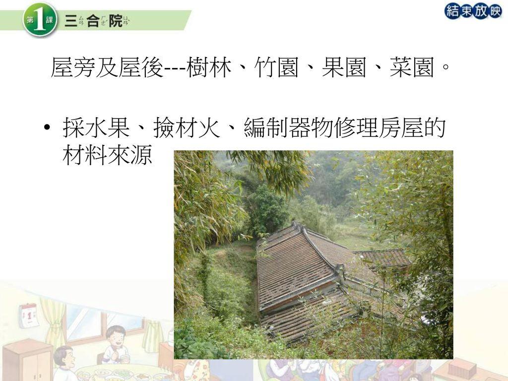 屋旁及屋後---樹林、竹園、果園、菜園。