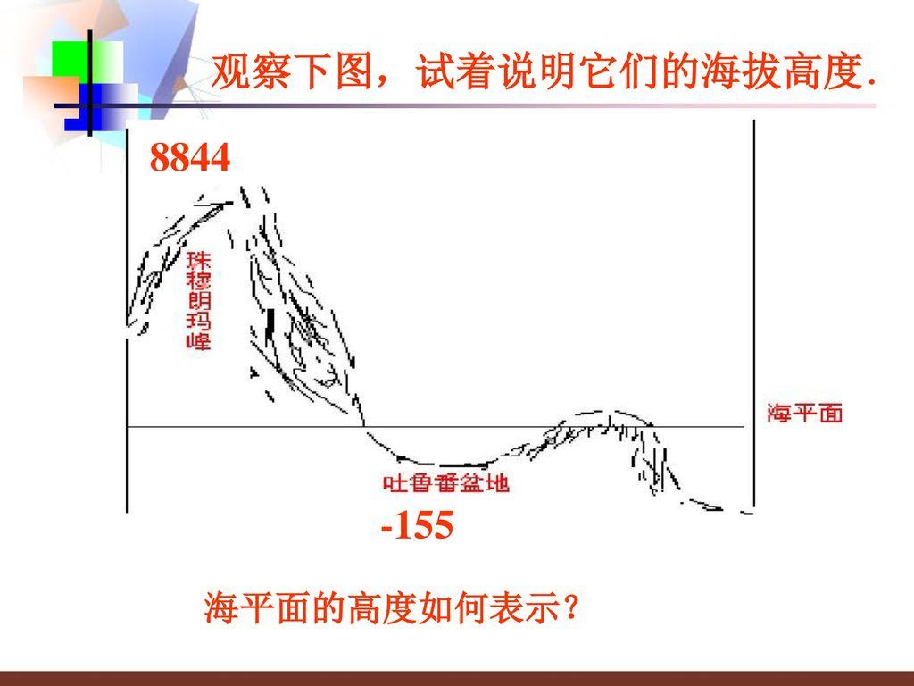 观察下图,试着说明它们的海拔高度. 8844 -155 海平面的高度如何表示?