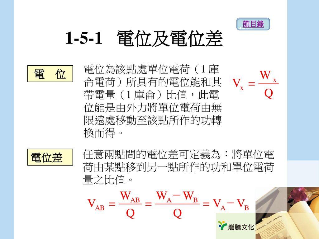 1-5-1 電位及電位差 節目錄. 電位為該點處單位電荷(1 庫侖電荷)所具有的電位能和其帶電量(1 庫侖)比值,此電位能是由外力將單位電荷由無限遠處移動至該點所作的功轉換而得。 電 位.