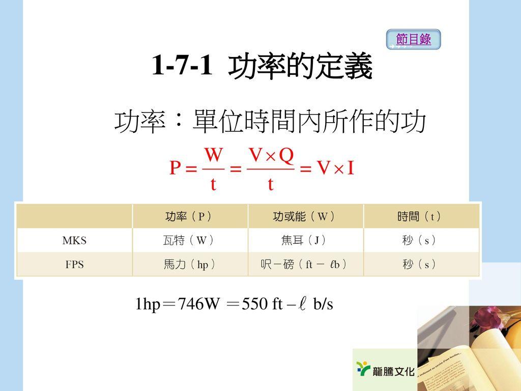 節目錄 1-7-1 功率的定義 功率:單位時間內所作的功 1hp=746W =550 ft – b/s