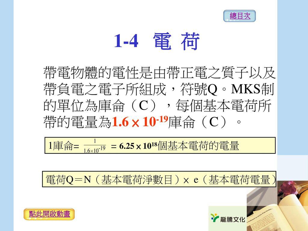 總目次 1-4 電 荷. 帶電物體的電性是由帶正電之質子以及帶負電之電子所組成,符號Q。MKS制的單位為庫侖(C),每個基本電荷所帶的電量為1.6 × 10-19庫侖(C)。 1庫侖= = 6.25 × 1018個基本電荷的電量.