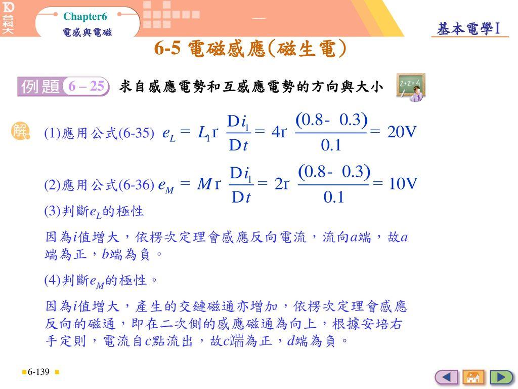 因為i值增大,依楞次定理會感應反向電流,流向a端,故a端為正,b端為負。