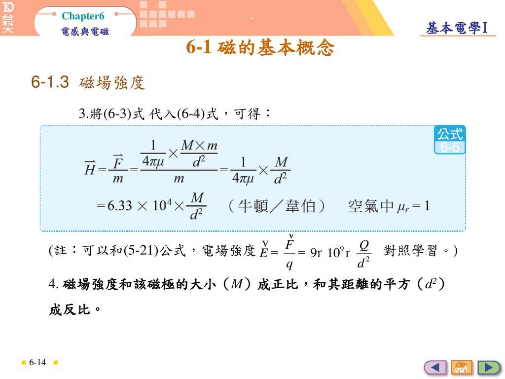 6-1.3 磁場強度 3.將(6-3)式 代入(6-4)式,可得: (註:可以和(5-21)公式,電場強度 對照學習。)