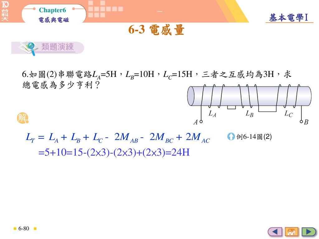 考慮互感的串聯總電感運算 6.如圖(2)串聯電路LA=5H,LB=10H,LC=15H,三者之互感均為3H,求總電感為多少亨利? 例6-14圖(2) =5+10=15-(2×3)-(2×3)+(2×3)=24H.