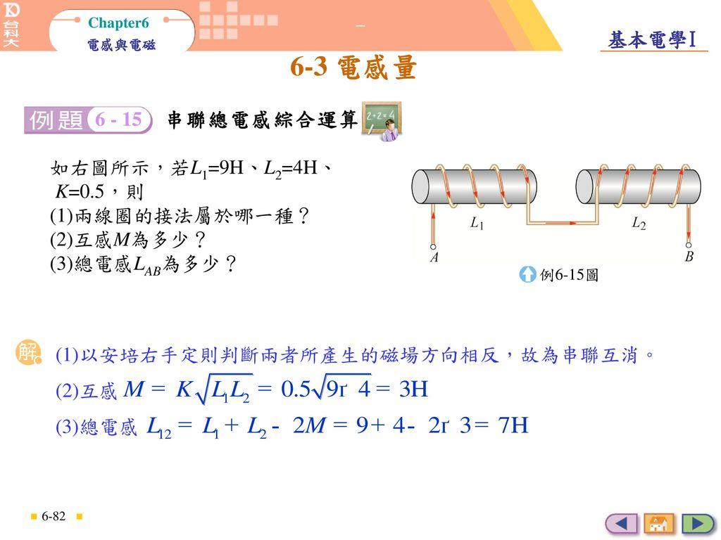 如右圖所示,若L1=9H、L2=4H、 K=0.5,則 (1)兩線圈的接法屬於哪一種? (2)互感M為多少? (3)總電感LAB為多少?
