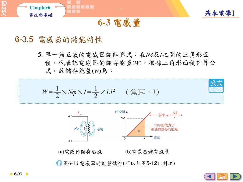 電感器的儲能特性 6-3.5 電感器的儲能特性. 5. 單一無互感的電感器儲能算式:在N及I之間的三角形面 積,代表該電感器的儲存能量(W),根據三角形面積計算公 式,故儲存能量(W)為: