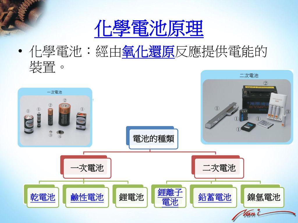 化學電池原理 化學電池:經由氧化還原反應提供電能的裝置。 電池的種類 一次電池 乾電池 鹼性電池 鋰電池 二次電池 鋰離子電池 鉛蓄電池