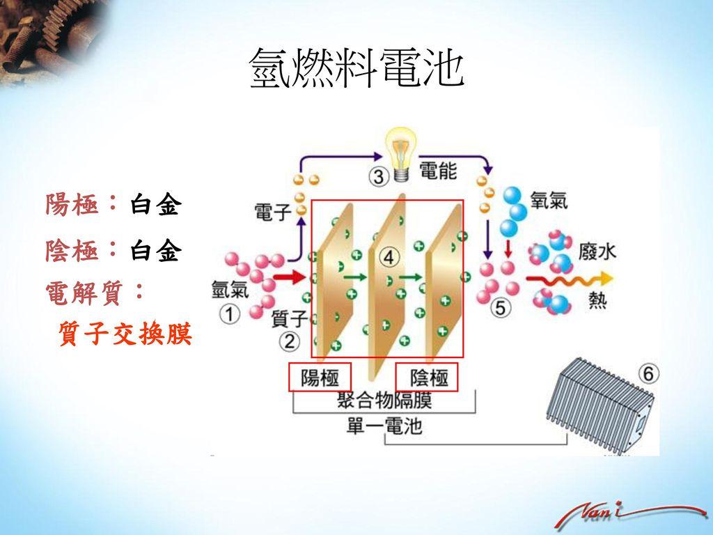 氫燃料電池 陽極:白金 陰極:白金 電解質: 質子交換膜