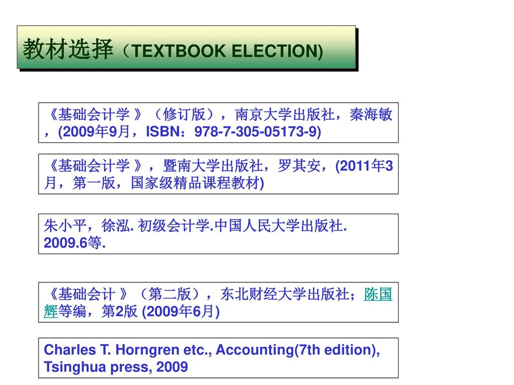 教材选择(TEXTBOOK ELECTION)