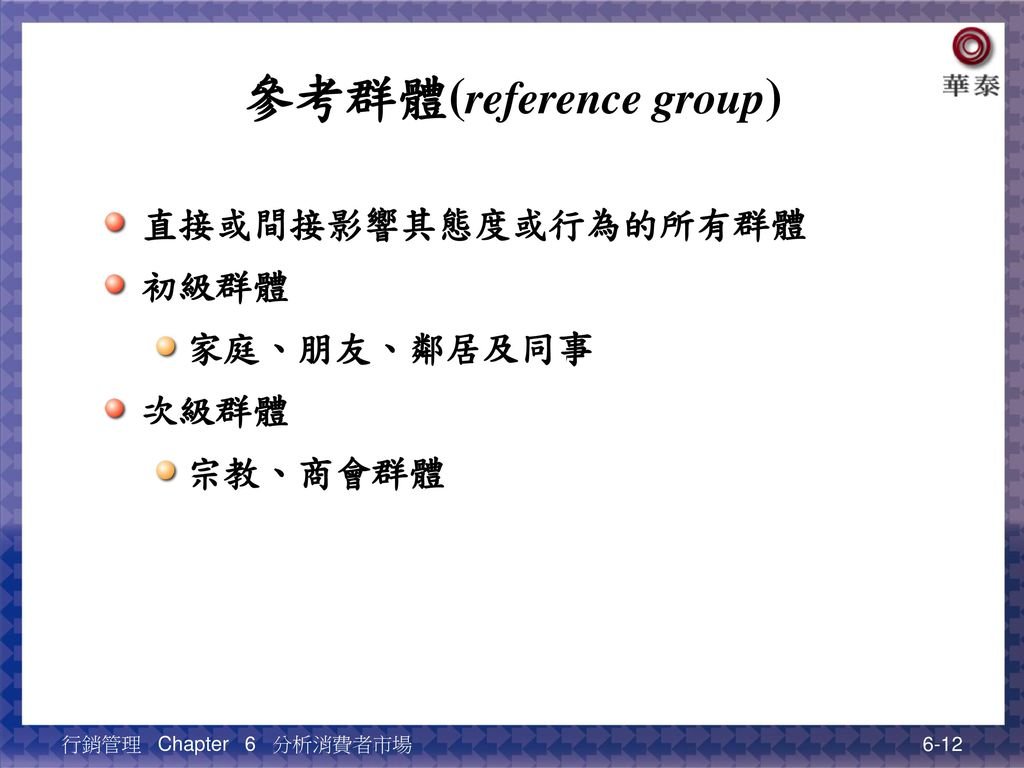 參考群體(reference group)