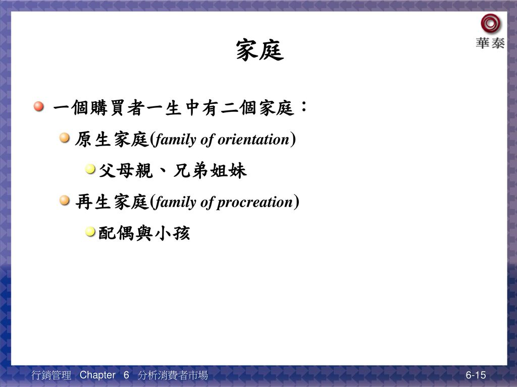 家庭 一個購買者一生中有二個家庭: 原生家庭(family of orientation) 父母親、兄弟姐妹