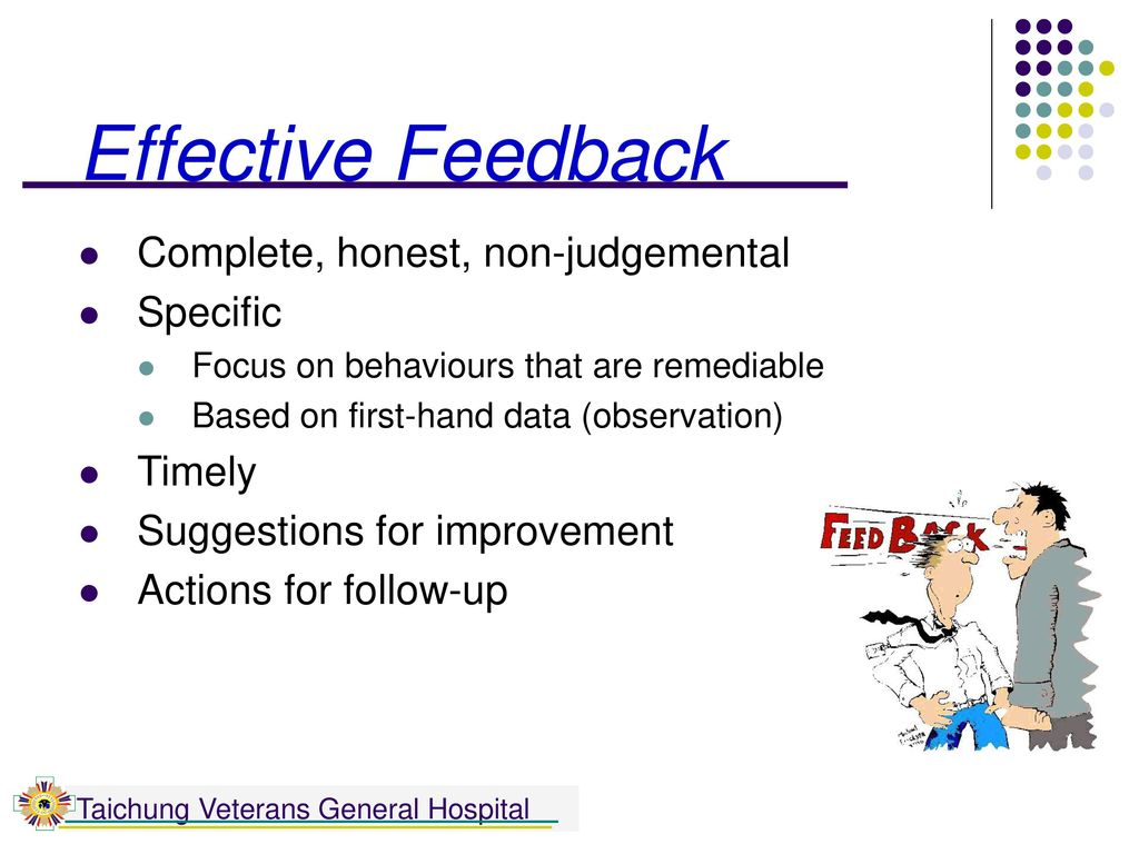 Effective Feedback Complete, honest, non-judgemental Specific Timely