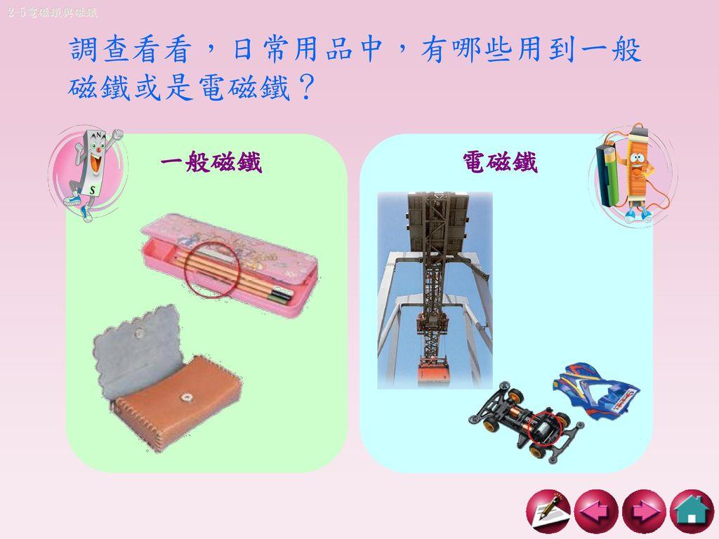 調查看看,日常用品中,有哪些用到一般磁鐵或是電磁鐵?