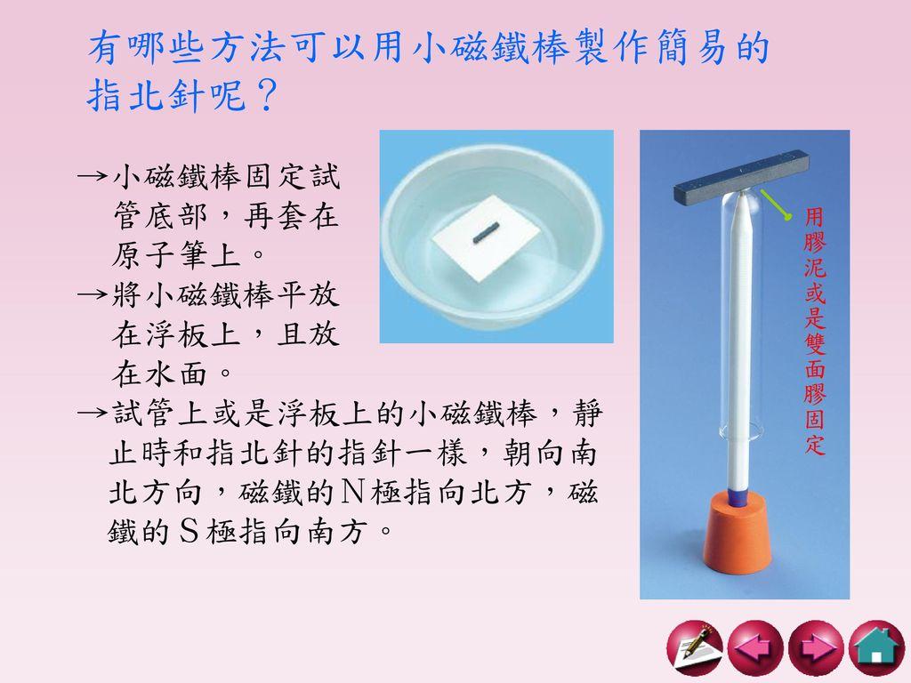 有哪些方法可以用小磁鐵棒製作簡易的指北針呢?