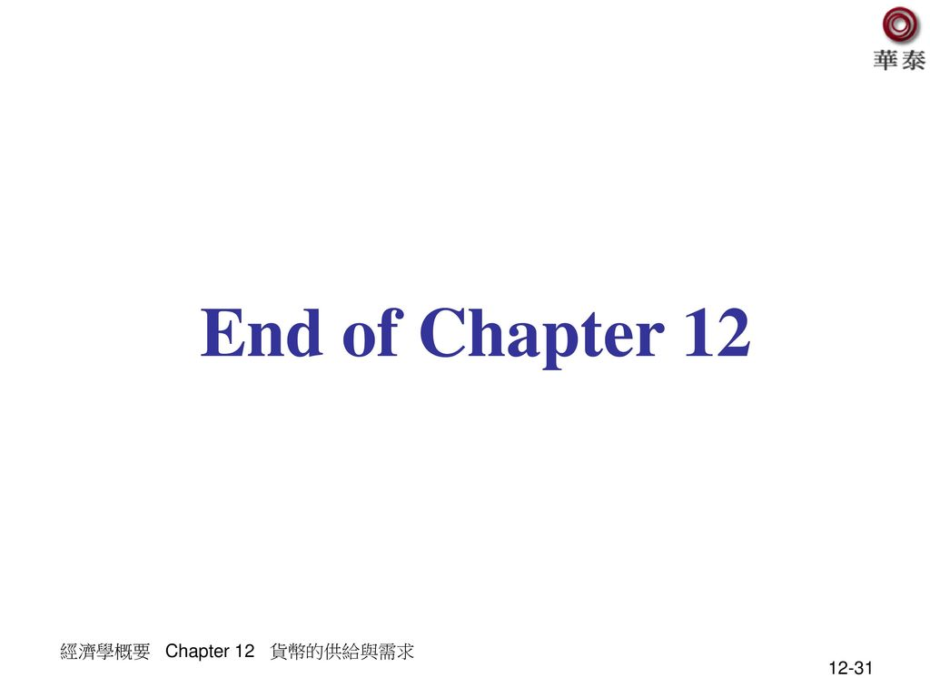 End of Chapter 12 經濟學概要 Chapter 12 貨幣的供給與需求