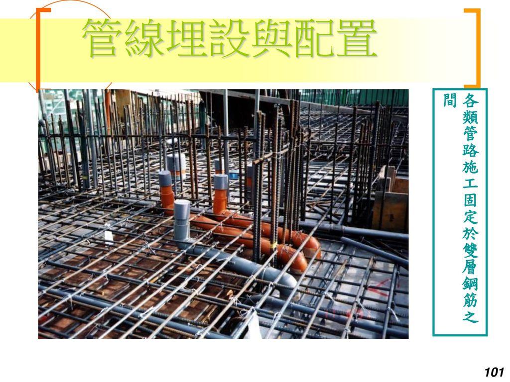 管線埋設與配置 各類管路施工固定於雙層鋼筋之間