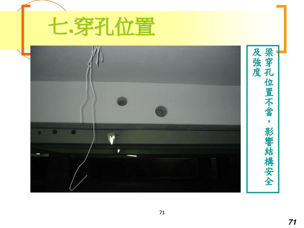 七.穿孔位置 梁穿孔位置不當,影響結構安全及強度 71