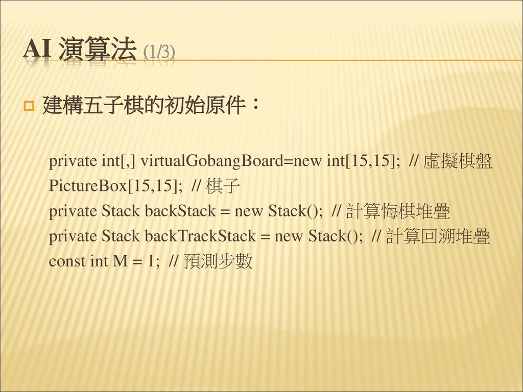 AI 演算法 (1/3) 建構五子棋的初始原件: private int[,] virtualGobangBoard=new int[15,15]; // 虛擬棋盤. PictureBox[15,15]; // 棋子.