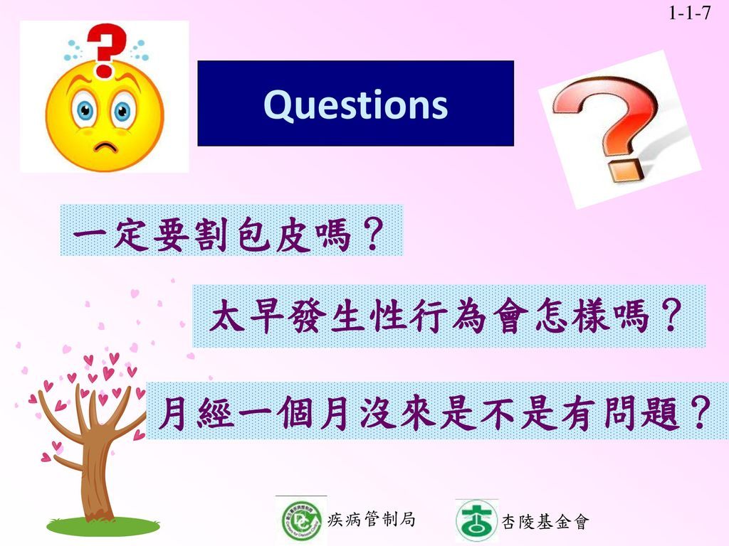 Questions 一定要割包皮嗎? 一定要割包皮嗎? 一定要割包皮嗎? 太早發生性行為會怎樣嗎? 太早發生性行為會怎樣嗎?