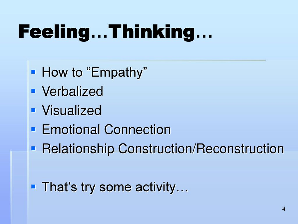 Feeling…Thinking… How to Empathy Verbalized Visualized