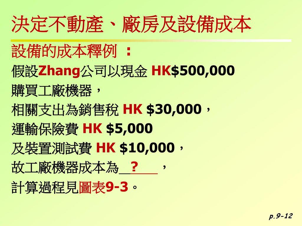 決定不動產、廠房及設備成本 設備的成本釋例 : 假設Zhang公司以現金 HK$500,000 購買工廠機器,