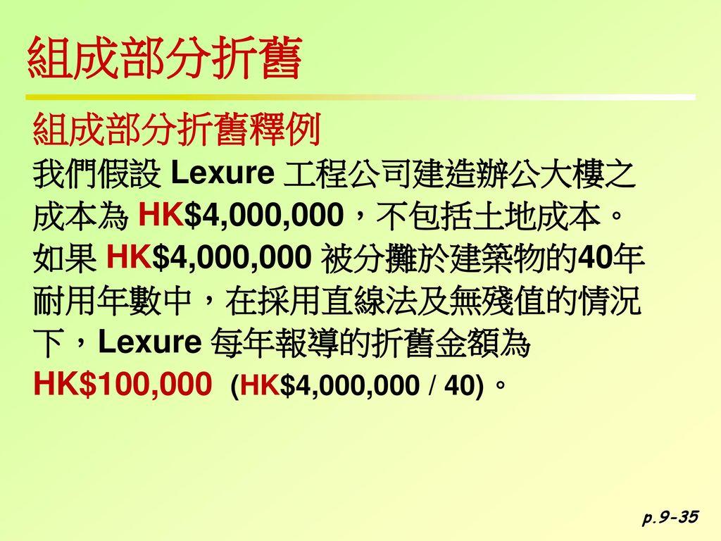 組成部分折舊 組成部分折舊釋例 我們假設 Lexure 工程公司建造辦公大樓之 成本為 HK$4,000,000,不包括土地成本。
