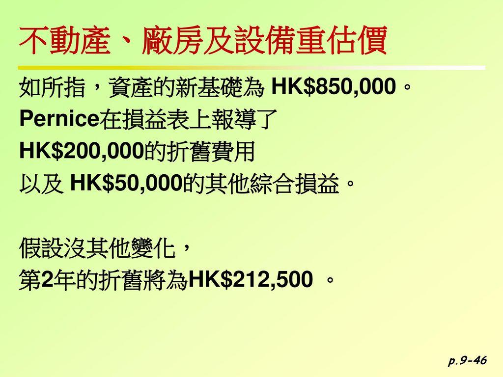 不動產、廠房及設備重估價 如所指,資產的新基礎為 HK$850,000。 Pernice在損益表上報導了 HK$200,000的折舊費用