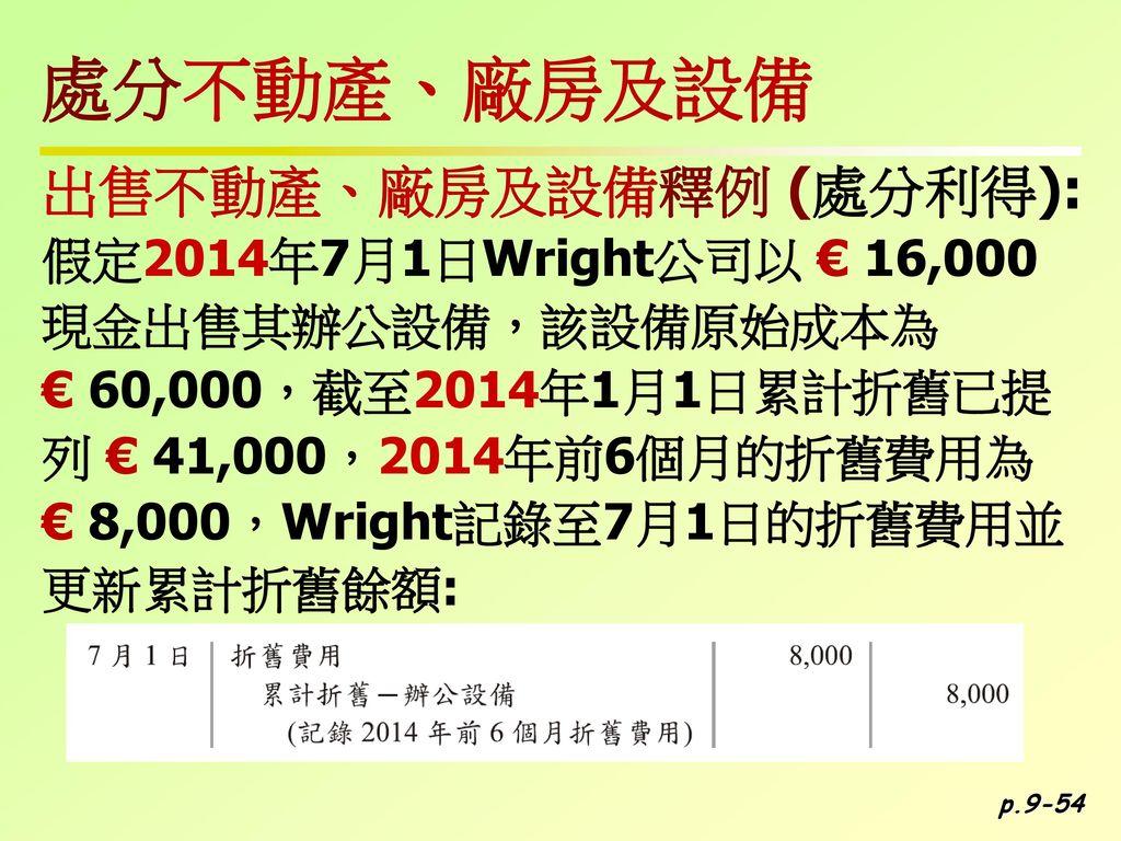 處分不動產、廠房及設備 出售不動產、廠房及設備釋例 (處分利得): 假定2014年7月1日Wright公司以 € 16,000