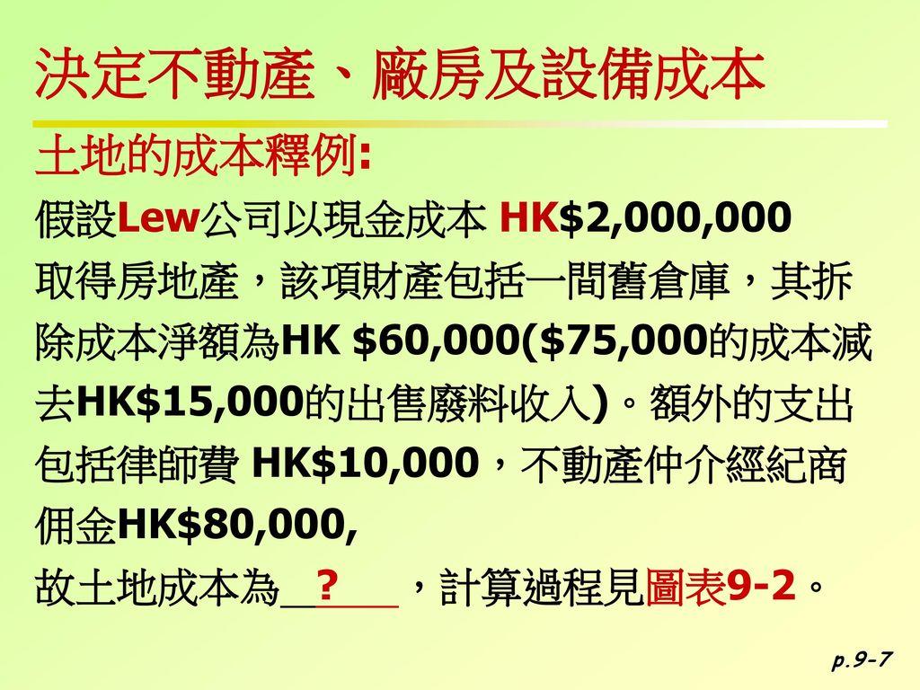 決定不動產、廠房及設備成本 土地的成本釋例: 假設Lew公司以現金成本 HK$2,000,000 取得房地產,該項財產包括一間舊倉庫,其拆