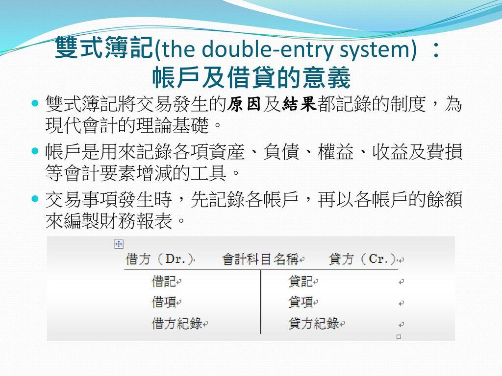 雙式簿記(the double-entry system) : 帳戶及借貸的意義