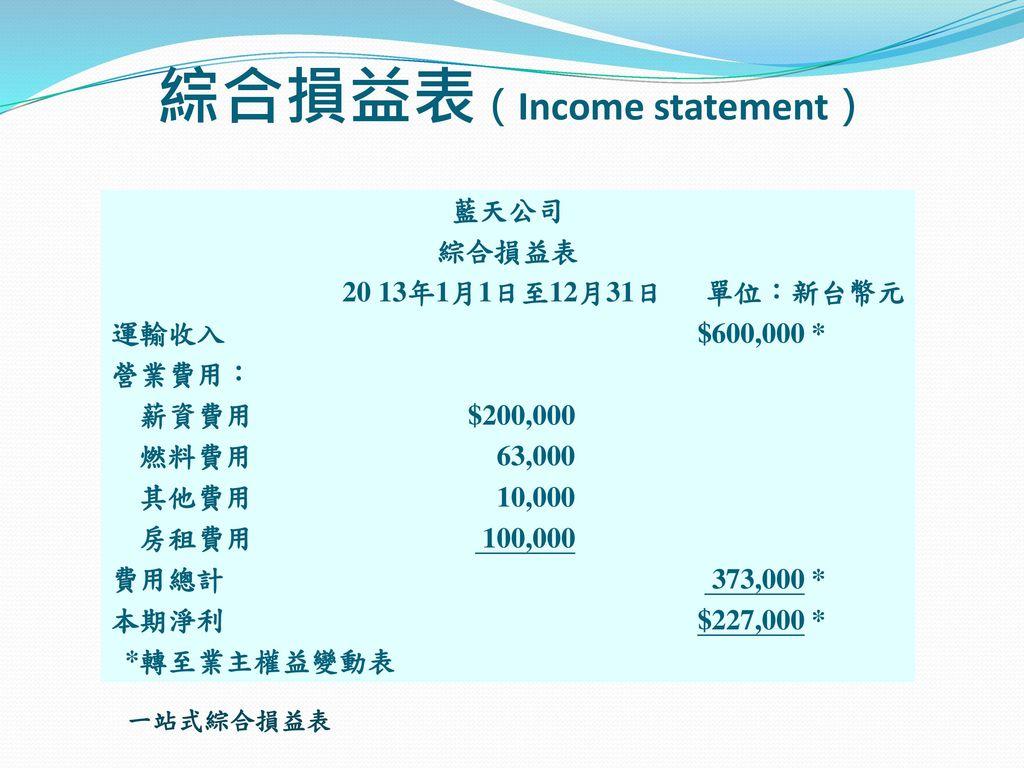 綜合損益表(Income statement)