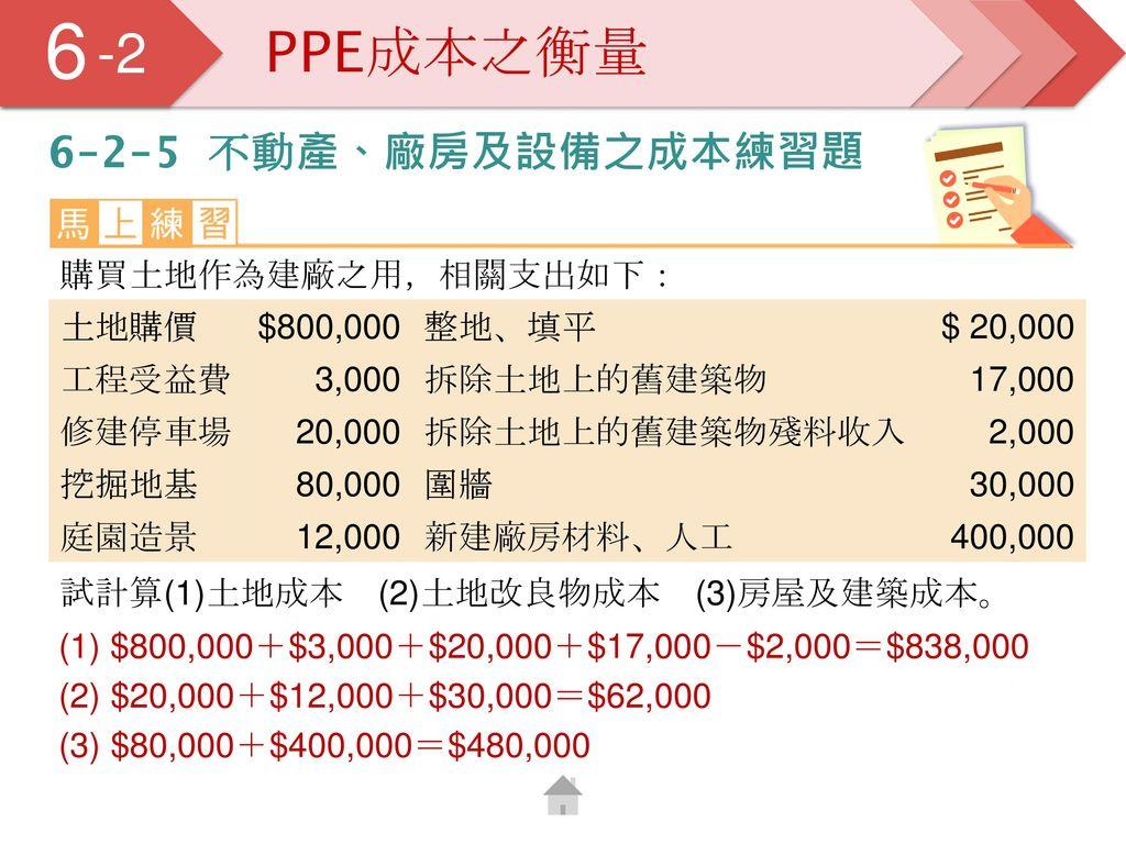 6 5 -2 PPE成本之衡量 6-2-5 不動產、廠房及設備之成本練習題 購買土地作為建廠之用,相關支出如下: 土地購價 $800,000
