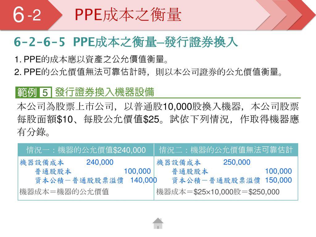 6 5 -2 PPE成本之衡量 6-2-6-5 PPE成本之衡量─發行證券換入